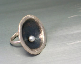 Statement Pearl Ring, Pearl Oxsidized Round Sterling Silver Ring