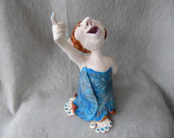 Handbuilt clay pottery figure stargazer woman statue whimsical folk art