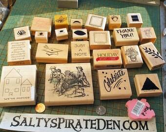 Craft Stamp Destash, 24 count, ink stamps, wood block, rubber craft stamps, assorted, cards, celebrate, house, garden, greetings, flower