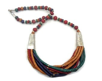 Wooden Necklace, Boho Statement, Green, Blue, Red, Amber, Beaded Necklace, Vintage, Multi-Strand, Oversized, Bohemian, Gypsy, Ethnic, Tribal
