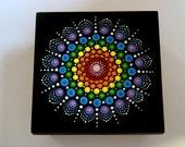 Hand painted wooden trinket stash treasure box-crystal rainbow mandala-black box-jewelry storage-wood jewelry box-ooak dot art-ready to ship