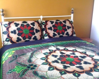 Queen size ready to ship  ( U.S ) African duvet cover. One of a kind