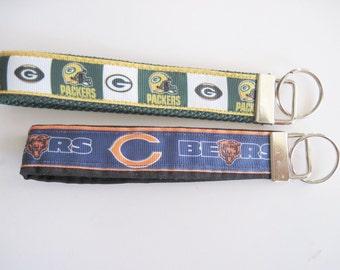 Packer or Bears Wristlet key fob key holder keychain