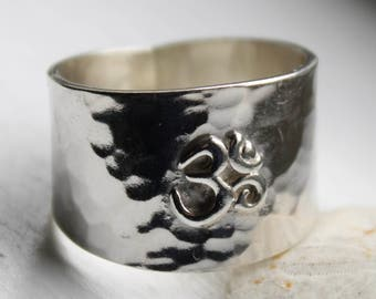 Om Ring, Sterling Silver Ring, Yoga Jewelry, Handmade, Aum Symbol Ring, Wide Sterling Ring, Hammered Ring