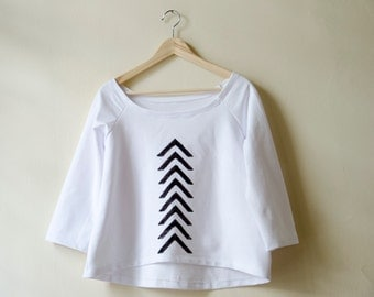 White Chevron Sweatshirt Hand Stamped, Off Shoulder Top Asymmetrical Hem Hi-low Shirt available in many colors