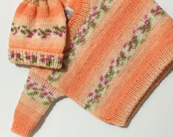 READY TO SHIP    Hand Knit Newborn Baby Pullover & Hat Set/Baby Girls/Orange/Green/White/Acrylic             Size Newborn to 6 months