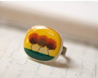 Mustard ring - Yellow Trees - Autumn jewelry (R014)