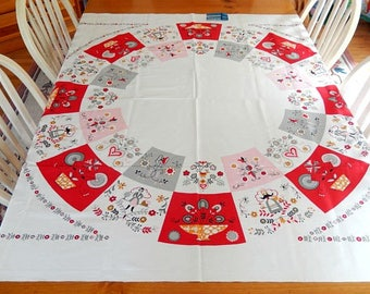 "vintage tablecloth, Sun Glo Printorama, 1950s, old new stock, Country Fair, 52"" x 52"", table linens"