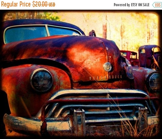 HOLIDAY CLEARANCE Miss Jasmine Take Two - Rusty Old Car - Oldsmobile - Fine Art Photograph by Kelly Warren