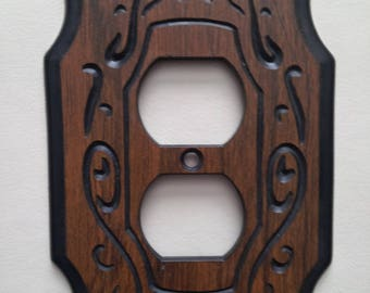 Vintage double outlet Wall Plate  Wood Look