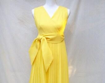 ON SALE 60s Bright Yellow Pleated Dress size Small Sleeveless Mini Empire Waist