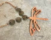 Dragonfly Necklace - Copper Pendant - Pierce and Cut - Mixed Metal Necklace - Steampunk - Handmade - One of a Kind - Dragonfly - Pendant
