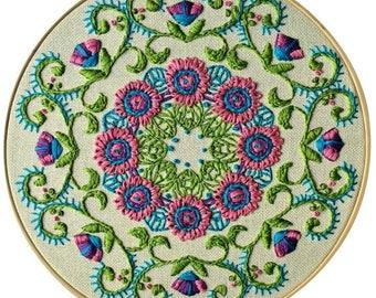 "Embroidered Mandala Big 3"" round STICKER"