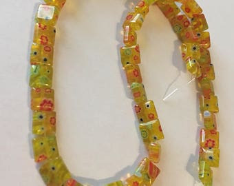 Golden Yellow Square Millefiori Glass Flower Beads - 8x8mm -15 inch