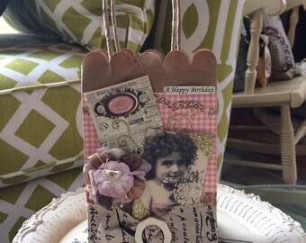 Birthday Gift Bag - Victorian Gift Bag - Vintage Girl Gift Bag