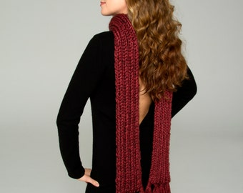 Cranberry Luxurious Alpaca Fringed Scarf 9'