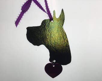 Great Dane Silhouette Ornament in Stained Glass