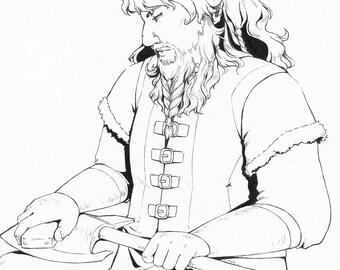 Dwarf Lady Original Ink Drawing