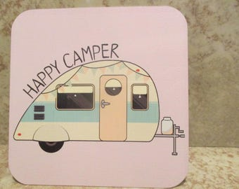 Vintage CAMPER Cup COASTER- Teardrop RV - 4 inch set of 4 - aluminum Full Color Print - Easy Clean - Bowl - Expresso - Coffe - Tea - Camping