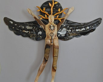 Made to Order- Copper Vine Angel - Lost and Found Series - Folk Art Angel
