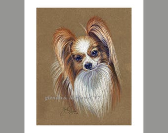 Papillon Red and White Colored Fine Art 8x10 Print