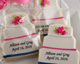 Wedding Cake Cookies, Personalized - 12 Decorated Sugar Cookie Favors