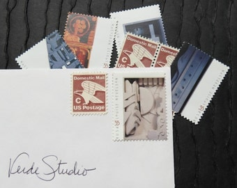 Modern Art .. Vintage UNused Postage Stamps .. to post 5 letters