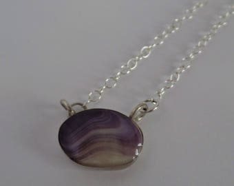 Wampum, quahog sell, sterling silver, chain necklace