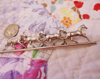 Vintage Silver Pin Trotting Horses