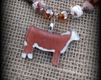 Glass Hereford Heifer, Cattle Jewelry Pendant With Beaded Necklace