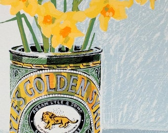 Golden 2 original hand screen printed floral print