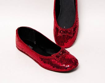 Sequin - Princess Pumps Red Ballet Slippers Flats Shoes with Red Crystal Rhinestone Bows
