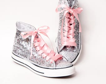 Tiny Sequin - Full Starlight Sterling Silver and Crystal Converse Canvas Hi Top Sneakers Shoes with Rhinestoned Toes and Pink Satin Laces