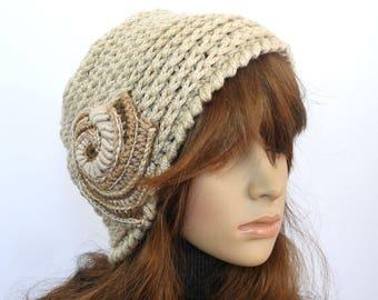 Chunky Crochet Beanie, Hat, Beige women's winter hat, beanie with Crochet Spiral Motif