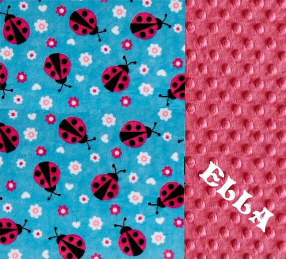 Toddler Blanket / 48 x 60 Minky Blanket Girl, Blue & Pink Ladybug Personalized Baby Blanket - Toddler Lap Size // Ladybug Blanket