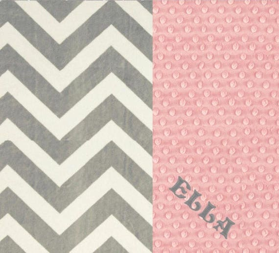 42 x 55 Crib Size Minky Baby Blanket, Personalized Baby Blanket // Gray Chevron & Pink Baby Blanket // Crib Blanket // Gray Chevron