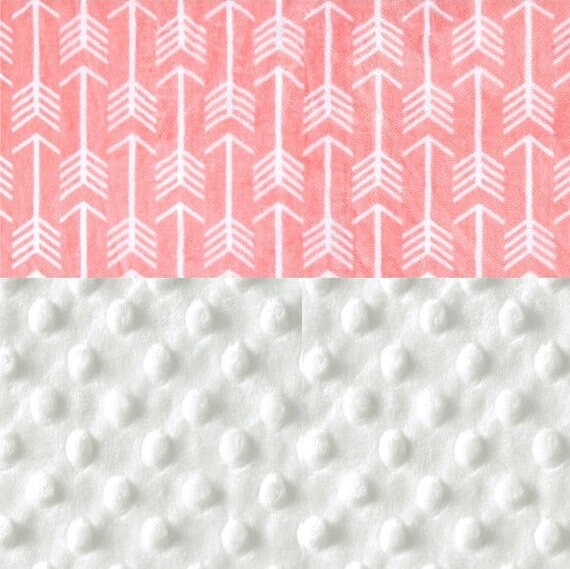 Toddler Blanket // 48 x 60 Minky Blanket Girl, Coral White Arrows Personalized Baby Blanket - Toddler Lap Size // Coral Arrow Blanket