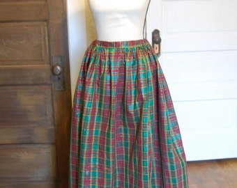 Plaid victorian full skirt costume christmas holiday play consert theater