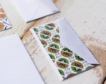 Granny's Kitchen - Little Notes - Set of 10 Enclosure Cards, Envelopes, Gold Closure Stickers - Green - Floral - Vintage - Gift -  (LN413)