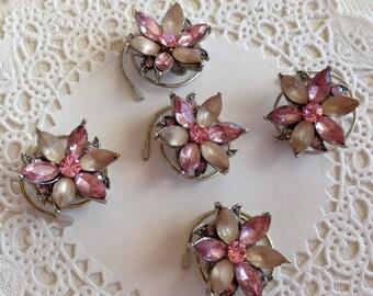 Victorian Hair Swirls Dusty Pink Flower Hair Twists Hair Spins Hair Jewelry Wedding Party Bridesmaids