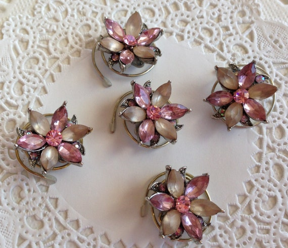 Victorian Hair Swirls Dusty Pink Flower Hair Twists Hair Spins Hair Jewelry Wedding Party Bridesmaids