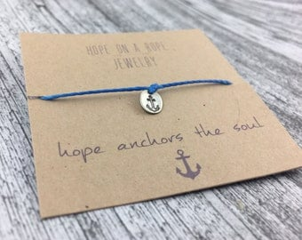 Anchors Bracelet - Sterling Silver Anchor Bracelet - Cord Bracelet - Nautical bracelet - Anchor Jewelry - Beach Bracelet - Hope Bracelet