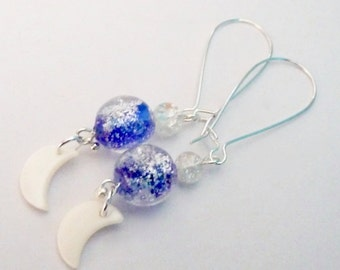 White & Silver Crescent Moon Earrings with Cracked Glass Blue Beads