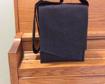 Charcoal Grey Herringbone Messenger Bag