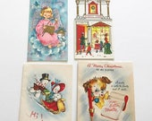 HOLIDAY CLOSEOUT 50% OFF Four Vintage Christmas Cards Angel General Store Snowman Couple Dog One Hallmark Red Pencil