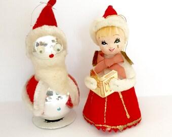 Vintage Christmas Ornaments Mercury Glass Googly Eyes Santa Claus Sweet Caroler