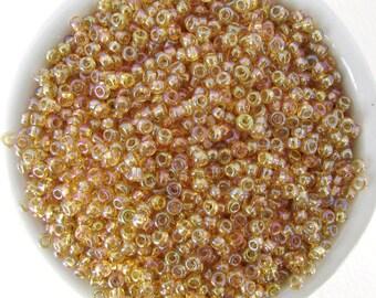 Czech Glass Seed Bead Golden Topaz Aurora Borealis Rainbow Coating Rocailles Size 8/0 gsb0051 (10 grams)