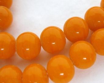 Vintage Japanese Beads Tangerine Orange Glass Rounds 8mm vgb1128 (10)