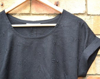 Broderie Anglaise top in Black Cotton Linen