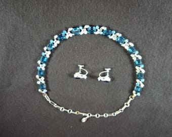 1940s Blue Necklace and Ear Screw Set